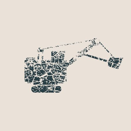 Flat big excavator. Grunge Style Abstract icon. Vector Illustration.