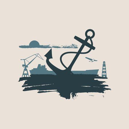 Cargo port relative icons set. Sketch style illustration. Grunge brush stroke.