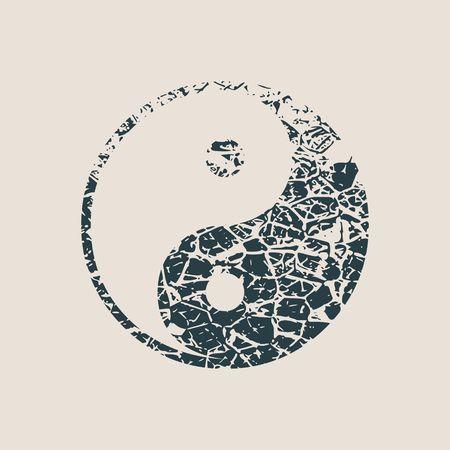 Ying yang symbol of harmony and balance. Grunge style vector illustration