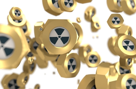 Nuts levitation group with nuclear danger icon. Shallow depth of focus. 3D rendering