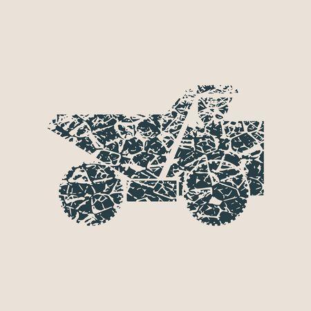 Icona di trasporto o dumper. Dumper o simbolo del ribaltabile. Macchine per l'industria mineraria e di costruzione per il trasporto di sabbia, ghiaia o terra. Segno di camion industriale o tip truck. Illustrazione stile grunge Archivio Fotografico - 71596989