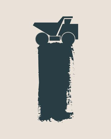 gravel: Haul or dump truck icon. Dumper or tipper symbol. Mining and construction machinery for transporting sand, gravel or dirt. Industrial lorry or tip truck sign. Grunge style illustration Illustration