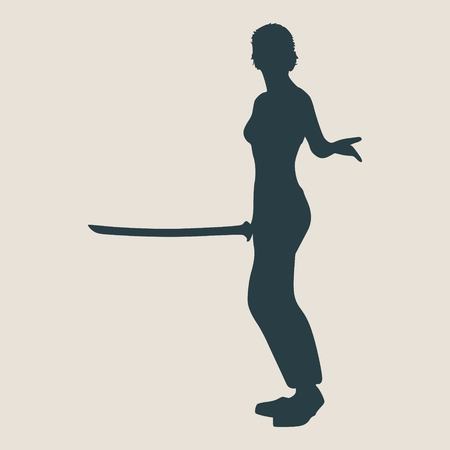 martial arts woman: Karate martial art silhouette of woman in sword fight karate pose Illustration