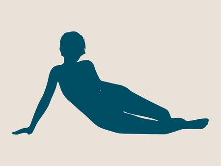 woman laying down: illustration of a woman lying on the floor isolated over a grey background. Relaxing pose