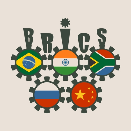 BRICS - association of five major emerging national economies members flags on cog wheels. Trade union. Global teamwork. Blue background. Illustration