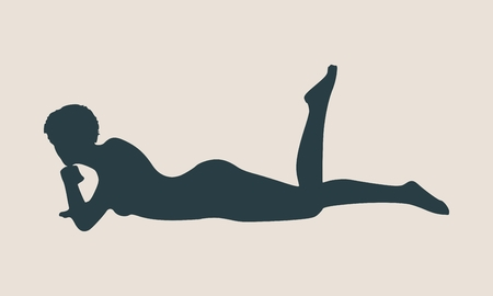 illustration of a woman lying on the floor isolated over a grey background. Relaxing pose