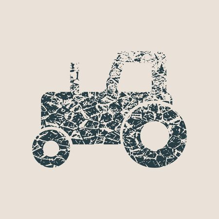 Tractor icon. Simple illustration of tractor icon for web design. Grunge style  illustration