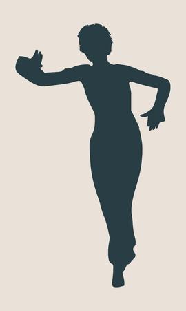 dancing pose: Abstract women in dancing pose. Illustration