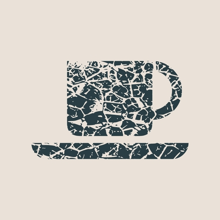 Coffee or tea cup. Grunge style vector illustration