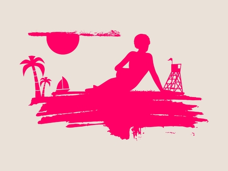 Young woman sunbathing on a beach. Silhouette of the relaxing girl on a grunge brush stroke. Vector illustration. Palm and lifeguard tower on backdrop