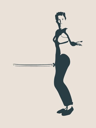 Karate martial art silhouette of woman in sword fight karate pose Illustration