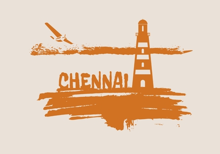 Lighthouse on brush stroke seashore. Clouds line with retro airplane icon. Vector illustration. Chennai city name text.