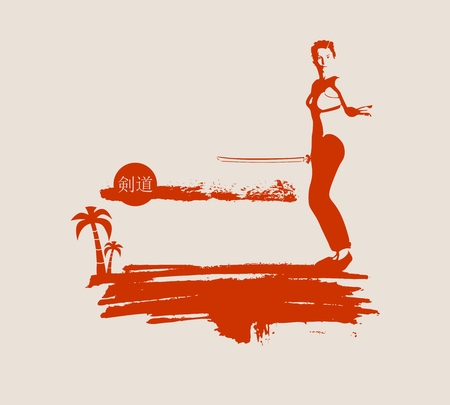 martial arts woman: Kung Fu martial art silhouette of woman in sword fight pose. Woman posing on grunge brush stroke. Cloudscape and palm on backdrop. Kendo text in Japanese hieroglyph