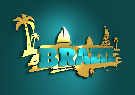 3d boat: Vintage seaside view poster. Palm and safeguard tower on the beach. Yacht in the ocean. Silhouettes on grunge brush stroke. 3D rendering. Metallic glossy material. Brazil text