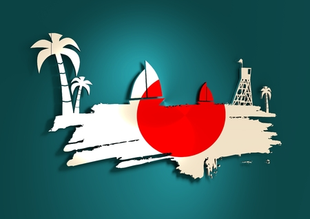 3d boat: Vintage seaside view poster. Palm and safeguard tower on the beach. Yacht in the ocean. Silhouettes on grunge brush stroke. 3D rendering. Metallic glossy material. Japan flag