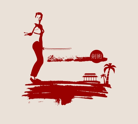 martial arts woman: Kung Fu martial art silhouette of woman in sword fight pose. Woman posing on grunge brush stroke. Cloudscape and palm on backdrop. Kenjutsu text in Japanese hieroglyph