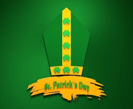 freehand tradition: St. Patricks Day greeting card template. Bishop hat with shamrock. Grunge brush stroke. 3D rendering