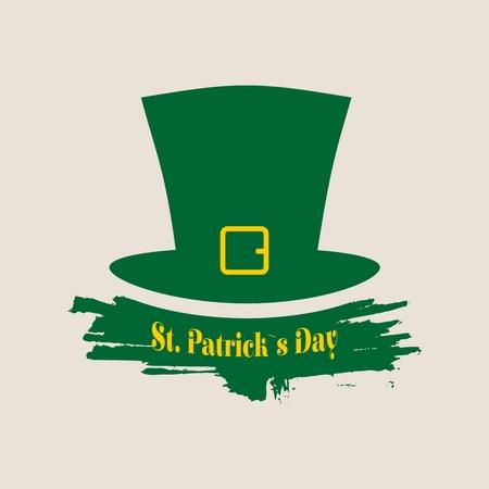 freehand tradition: Green St. Patricks Day hat. Greeting card template. Vector illustration. Grunge brush stroke Illustration