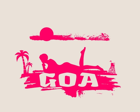 Young woman sunbathing on a beach. Silhouette of the relaxing girl on a grunge brush stroke. Vector illustration. Palm and lifeguard tower on backdrop. Goa text