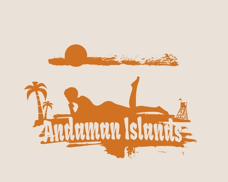 Young woman sunbathing on a beach. Silhouette of the relaxing girl on a grunge brush stroke. Vector illustration. Palm and lifeguard tower on backdrop. Andaman Islands text