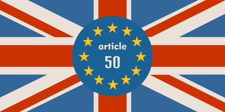 United Kingdom exit from Europe relative image. Brexit named politic process. Round flags. Article 50 text Illustration