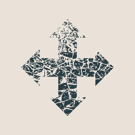 Arrow cross. Cracked grunge style icon. Way choosing metaphor Illustration