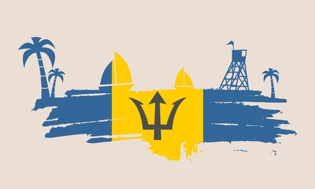 Vintage seaside view poster. Vector background. Palm and safeguard tower on the beach. Yacht in the ocean. Silhouettes on grunge brush stroke. Flag of Barbados Illustration
