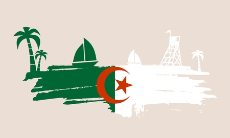 algeria: Vintage seaside view poster. Vector background. Palm and safeguard tower on the beach. Yacht in the ocean. Silhouettes on grunge brush stroke. Flag of Algeria