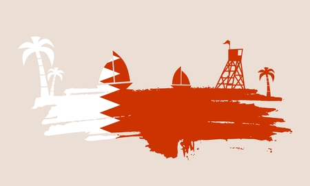 Vintage seaside view poster. Vector background. Palm and safeguard tower on the beach. Yacht in the ocean. Silhouettes on grunge brush stroke. Flag of Qatar Illustration