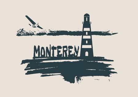 Lighthouse on brush stroke seashore. Clouds line with retro airplane icon. Vector illustration. Monterey city name text. Illustration