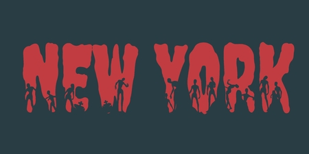 New York city name and zombie silhouettes on them. Halloween theme background