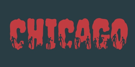 Chicago city name and zombie silhouettes on them. Halloween theme background Illustration