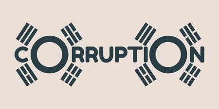 Corruption word. Vector illustration relative to Korean politic crisis. National flag elements. Billboard concept Illustration