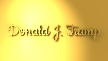 USA - January 16, 2017: An illustration of a US President Donald Trump signature. 3D rendering. Golden material characters Editorial