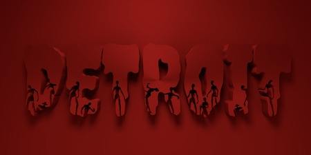 Detroit city name and zombie silhouettes on them. Halloween theme background. 3D rendering Stock Photo