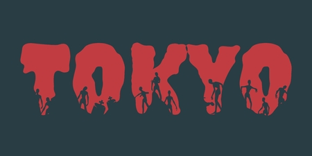Tokyo city name and zombie silhouettes on them. Halloween theme background