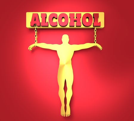 unhealth: Man chained to alcohol word. Unhealth addiction metaphor. . Metallic Material. 3D rendering