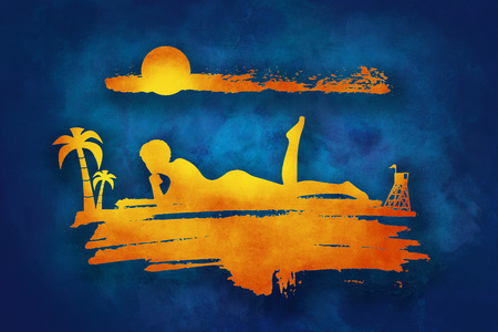 Young woman sunbathing on a beach. Silhouette of the relaxing girl on a grunge brush stroke. Palm and lifeguard tower on backdrop. Multicolor grunge brush drawing