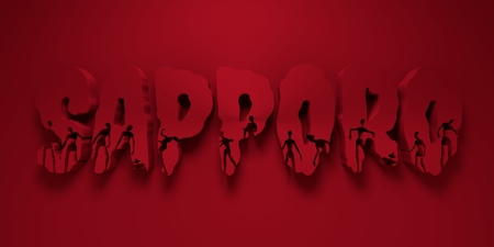 Sapporo city name and zombie silhouettes on them. Halloween theme background. 3D rendering