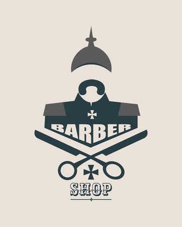 Barber shop vector vintage label, badge, or emblem on gray background. German infantryman Illustration