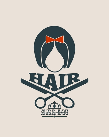 barbershop: Vector silhouette of a girl retro style hair. Abstract concept for beauty salons, spa, cosmetics, fashion, beauty industry. Vintage emblem Illustration