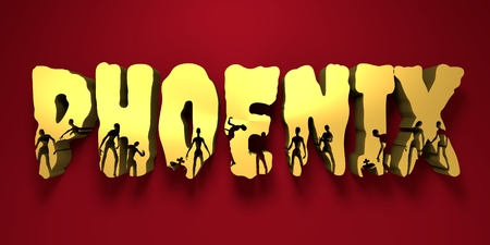 Phoenix city name and zombie silhouettes on them. Halloween theme background. 3D rendering