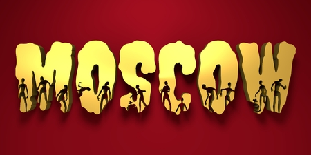 Moscow city name and zombie silhouettes on them. Halloween theme background. 3D rendering