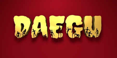 Daegu city name and zombie silhouettes on them. Halloween theme background. 3D rendering