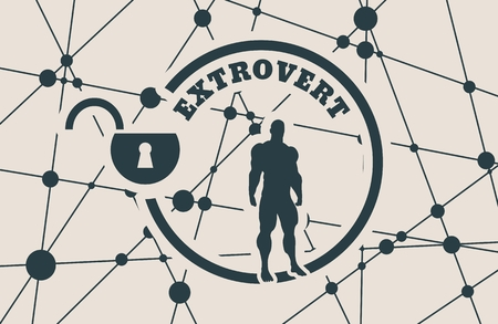 extrovert: extrovert simple icon metaphor. image relative to human psychology. muscular man in the locked circle. Molecule And Communication Background. Connected lines with dots.