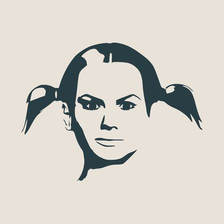 Face profile view. Elegant silhouette of a female head. Vector Illustration. Pigtails hair style. Monochrome gamma.