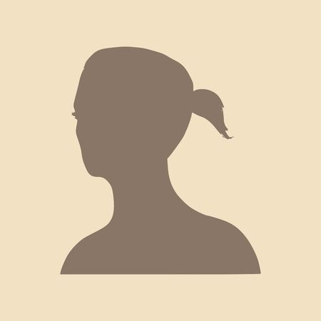 ponytails: Face half turn view. Elegant silhouette of a female head. Vector Illustration. Ponytails hair style. Monochrome gamma.