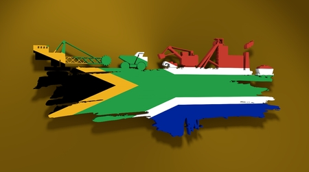 Energy and Power icons set and grunge brush stroke. Coal mining relative image. 3D rendering. Flag of the South Africa