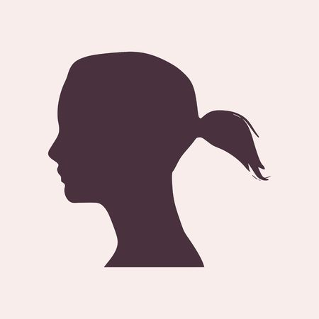 face side view elegant silhouette of a female head vector