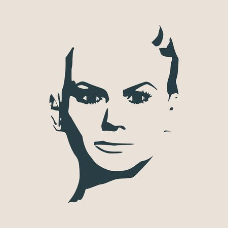 Face front view. Elegant silhouette of a female head. Vector Illustration. Short hair. Monochrome gamma.